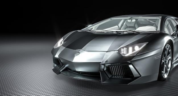 Aluminum supercar on carbon fiber background. 3d render