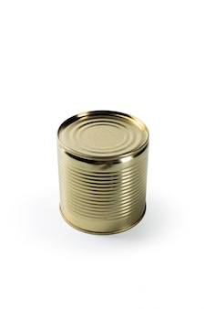 Aluminum tin can on a white