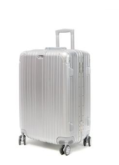 Aluminum travel suitcase isolated on white