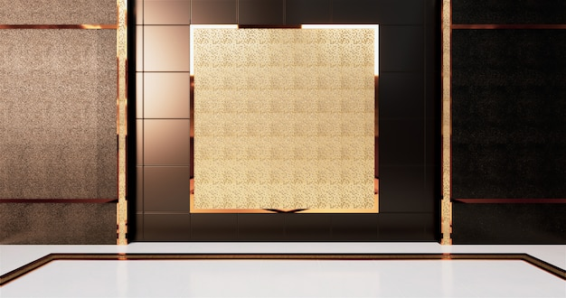 Aluminum trim gold and mosaic gold on black tiles wall design