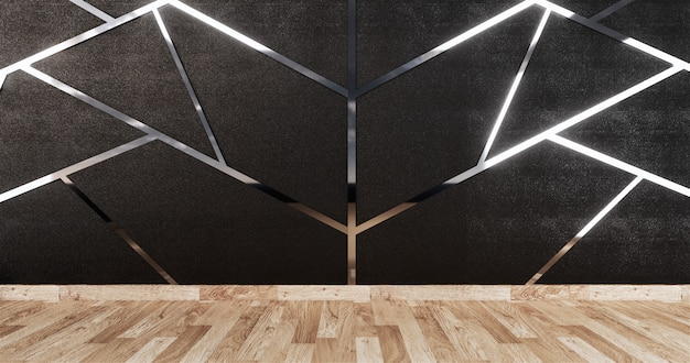 Aluminum trim siver on black wall design and wooden floor
