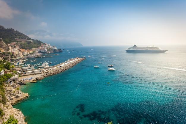 Amalfitan coast with cruise liner