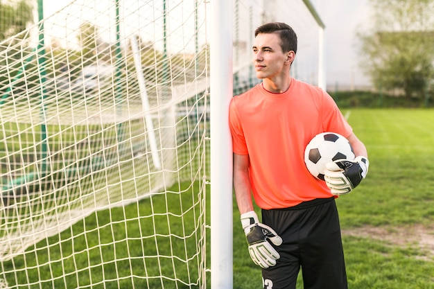 Amateur football concept with goalkeeper