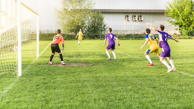 Amateur football concept with match scene