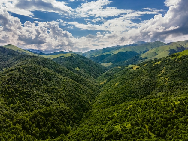 Amazing aerial shot of beautiful forested mountains in armenia