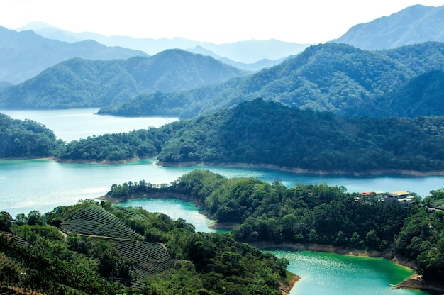 Amazing aerial shot of the beautiful thousand island lake in taiwan