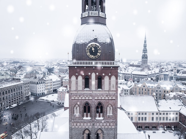 Amazing aerial view of the riga old town during a heavy snow