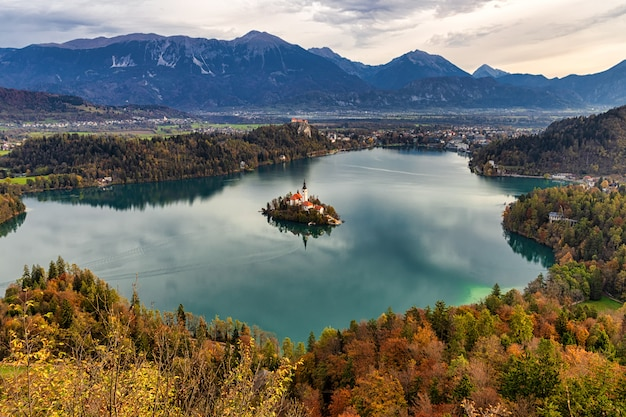 Amazing autumn view of lake bled from mala ostojnica view point, slovenia