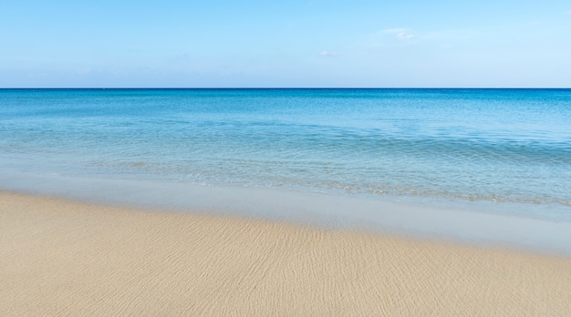 Amazing blue sky and calm andaman sea in the morning beautiful white sand beach nature
