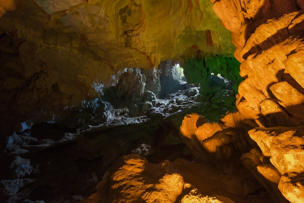 Amazing cave of hang sung sot grotto, beautiful stalagmite and stalactite in cave, halong bay, vietnam