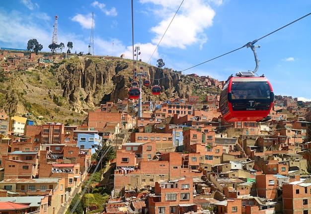 空中ケーブルカー都市交通システムであるミテレフェリコのあるラパスの素晴らしい街並み