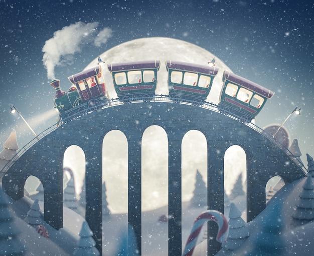 Рождественский поезд удивительного милого санты проезжает мимо моста на северном полюсе. необычные рождественские 3d иллюстрации