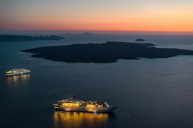 Amazing evening view of an island surrounded by the aegean sea