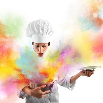 냄비에서 놀라운 색상 폭발
