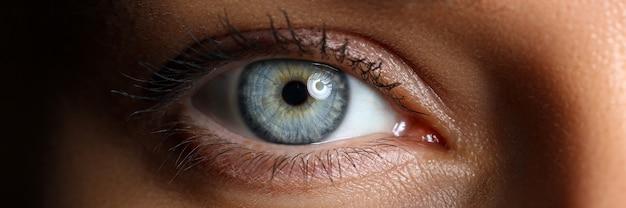 Удивительный женский синий и зеленый цвета широко открытый глаз