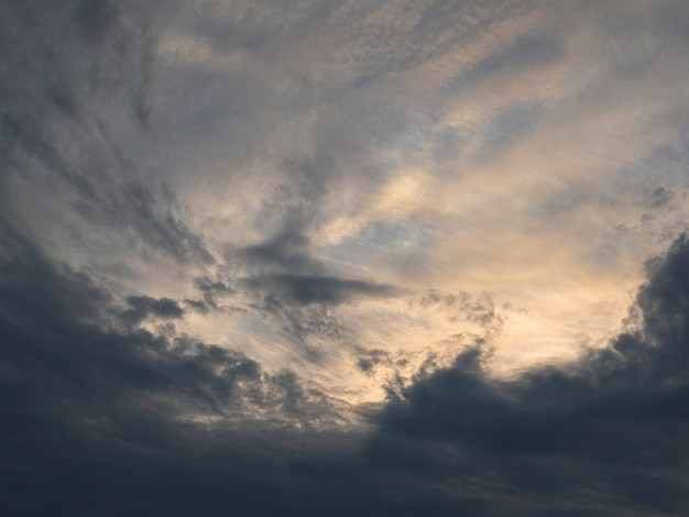 Amazing gradient of the evening sky. colorful cloudy sky at sunset. sky texture, abstract nature background, soft focus.