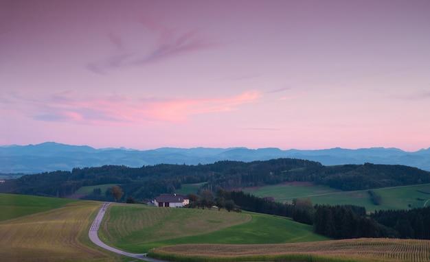 ピンクの夕日の素晴らしい緑の丘の風景。