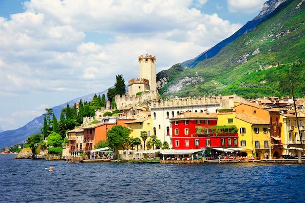 Amazing lake lago di garda, malcesine village, view with castle