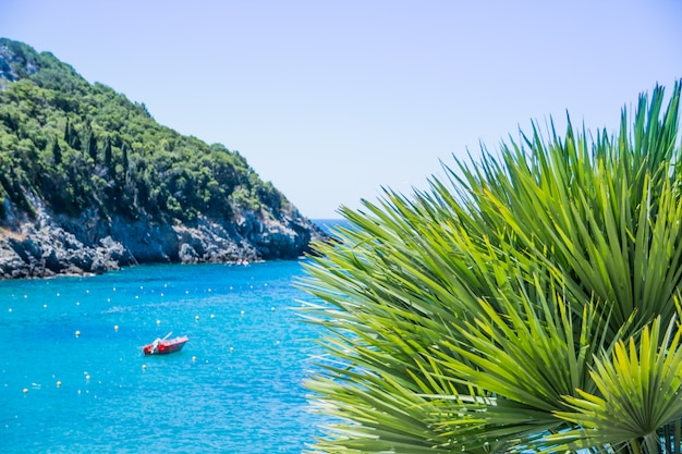 Amazing landscape azure bay in paleokastritsa in corfu island