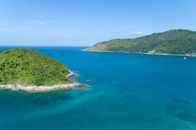 Amazing landscape nature scenery view of beautiful tropical sea with sea coast view in summer season image by aerial view drone shot high angle view.