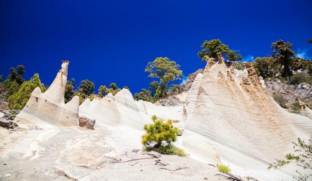 테 네리 페, 카나리아 제도, 스페인에서 큰 침식이있는 paisaje lunar의 놀라운 풍경