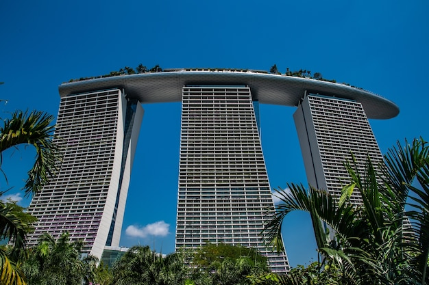 Amazing low angle shot of the marina bay sands in singapore