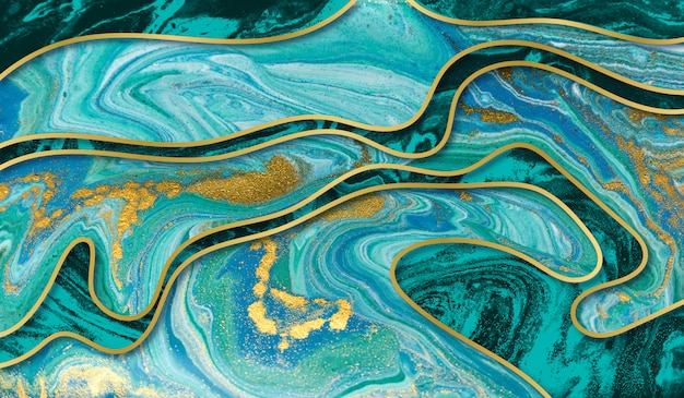 Amazing luxury yellow gold agate ripple background. blue wave and golden glitter abstract .