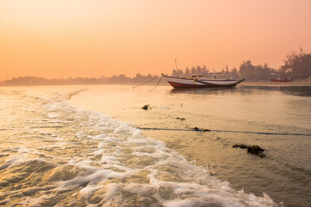 Amazing morning light with sunrise moment at boat in bengkulu, indonesia