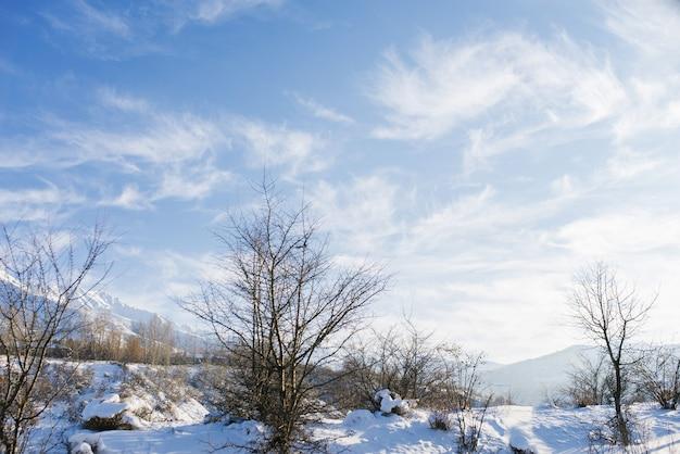 ウズベキスタンの山々の冬の素晴らしい山の風景