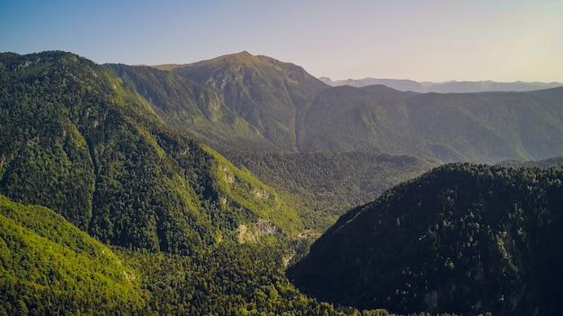 リッサ湖、アブハジアの素晴らしい自然の風景の眺め空撮リゾート町ガグラ、アブハジア、ジョージア州