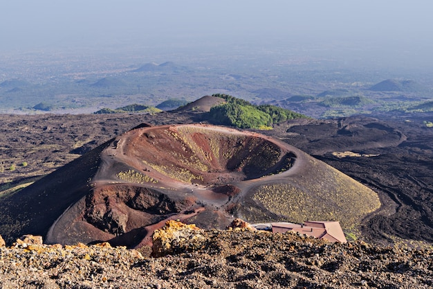 Amazing panoramic view of crater and area of volcano etna