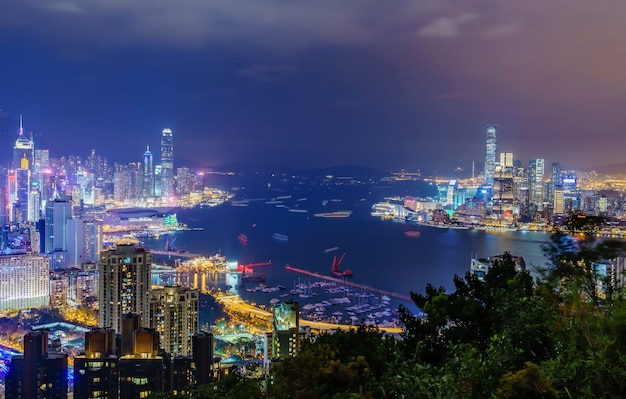 Amazing panoramic view of hong kong city skyline before sunset.
