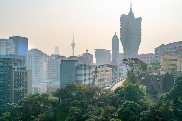 시내 중심가에 있는 마카오 카지노 도시의 놀라운 탁 트인 전망.