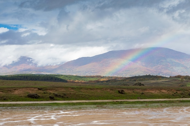Amazing rainbow in the countryside