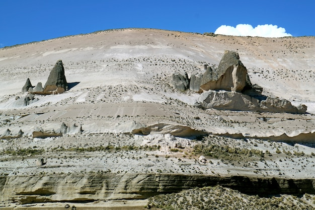 Amazing rock formations in salinas y aguada blanca national reserve, arequipa region of peru