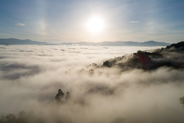 Amazing scenery nature landscape nature view aerial view drone camera photography of mist or fog flowing on mountain peak in the morning sunrise or sunset at khao khai nui phang nga thailand.