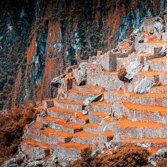 장엄한 고대 돌 마추 픽추 사원의 놀라운 풍경
