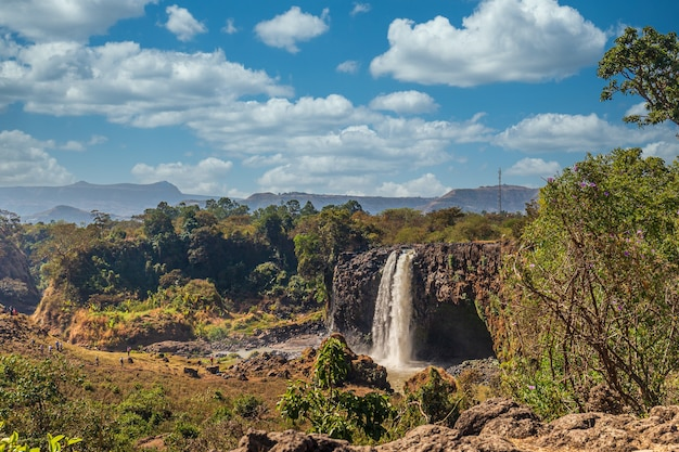 Amazing shot of the blue nile waterfall in ethiopia