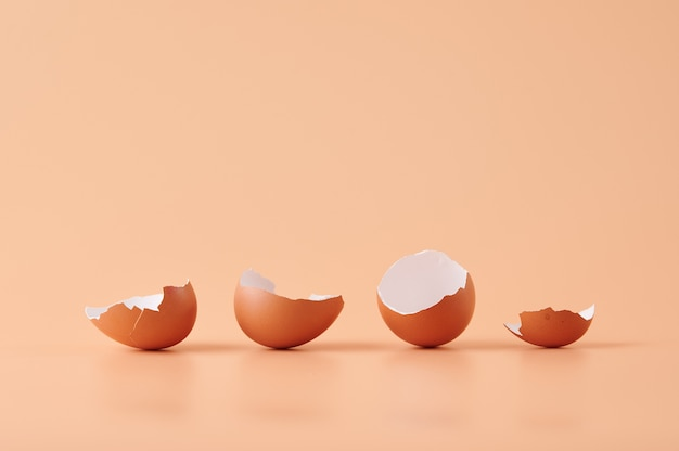 Amazing shot of eggshells isolated on orange
