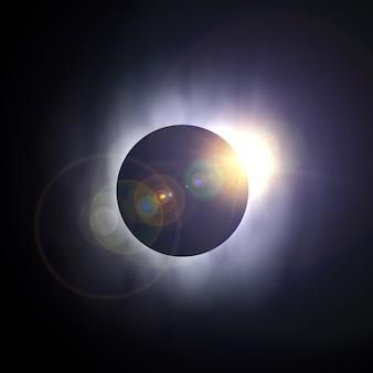Удивительный экстремальный крупный план солнечного затмения. 3d рендеринг
