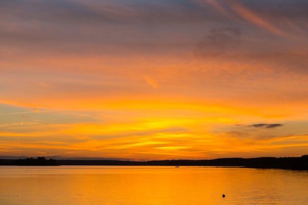Amazing sunset over lake