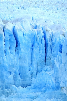 アルゼンチンのエルカラファテ、アイスブルーのペリトモレノ氷河の素晴らしいテクスチャ