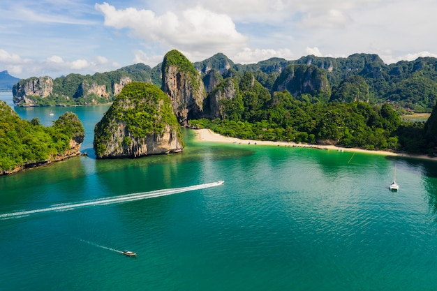 Amazing thailand high season beautiful seascape aerial view ao nang beach island krabi thailand