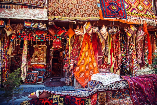 Amazing traditional handmade turkish carpets in souvenir shop.