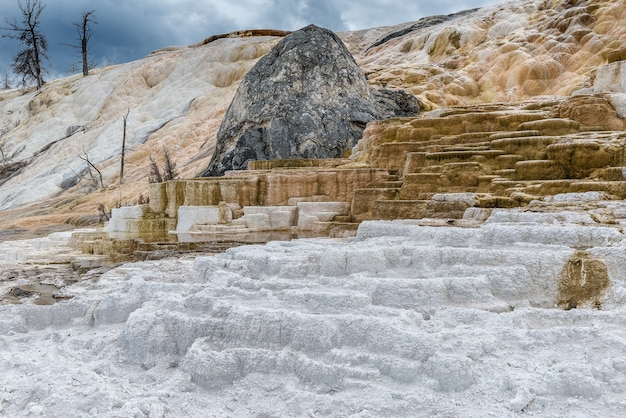 Amazing unique formation mammoth hot springs in yellowstoone national park