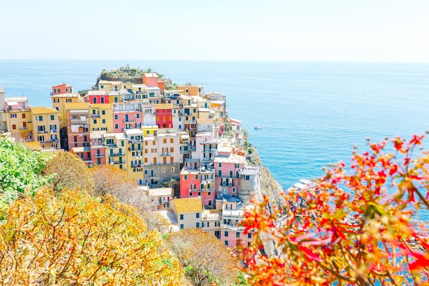Amazing view of the beautiful village of manarola in the cinque terre reserve.