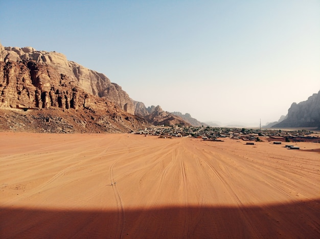 Amazing view from above on the huge, red, hot and very beautiful desert wadi rum. kingdom of jordan , arab country in western asia