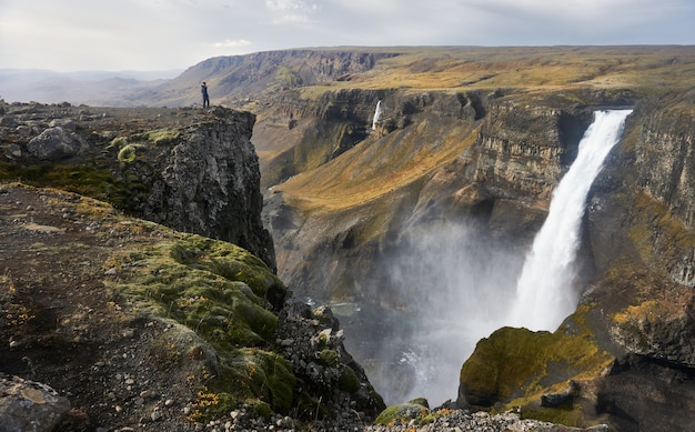 Amazing view of haifoss waterfall in autumn