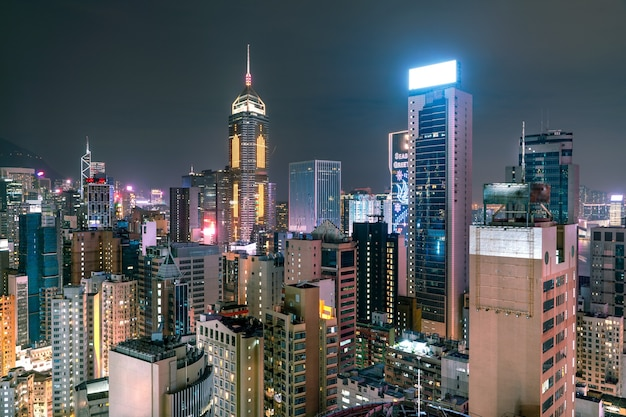 The amazing view of hong-kong cityscape full of skyscrapers from the rooftop.