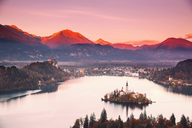 슬로베니아 유럽 t의 블레드 호수 가을 또는 겨울의 놀라운 전망
